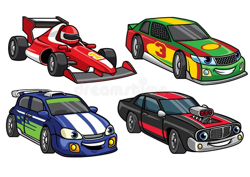 在集合的动画片体育赛车 皇族释放例证