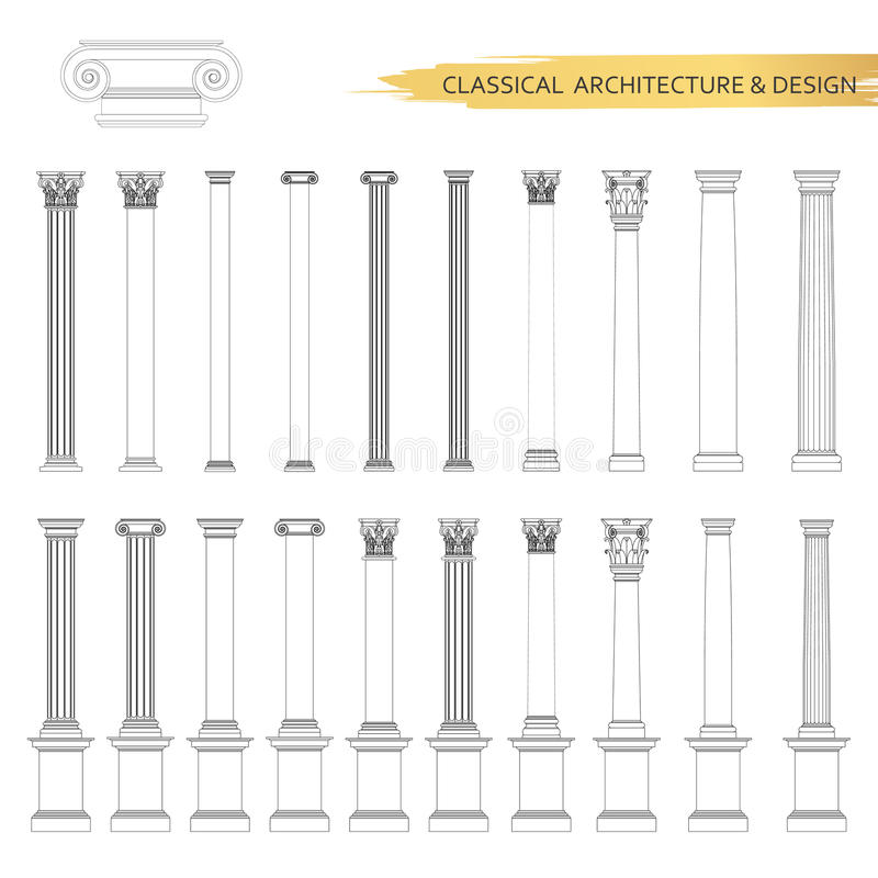 在集合的古典建筑形式图画 传染媒介图画经典建筑学的设计元素 皇族释放例证