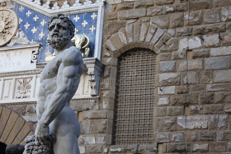 在雕象的细节在广场della Signoria在佛罗伦萨,意大利 免版税图库摄影
