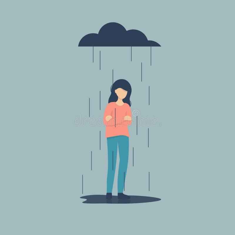 在雨下的哀伤的女性角色身分 库存例证