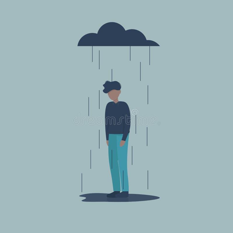 在雨下的哀伤的男性角色 皇族释放例证
