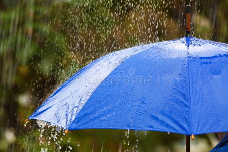 在雨下的明亮的伞在街道上 库存照片