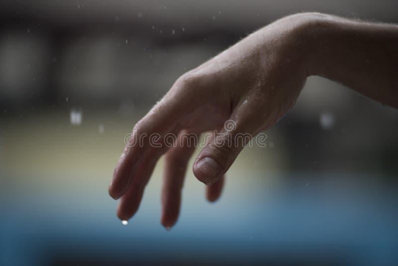 在雨下的湿手 免版税库存照片