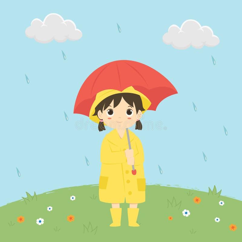 在雨传染媒介例证下的小女孩 皇族释放例证
