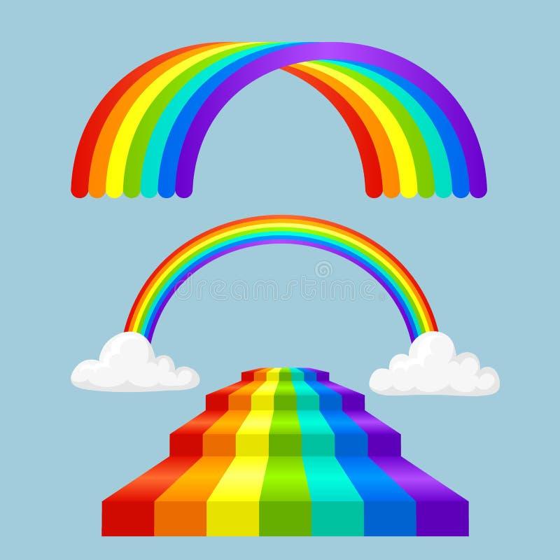在雨光学天空作用传染媒介集合以后的不同的样式彩虹彩带 皇族释放例证