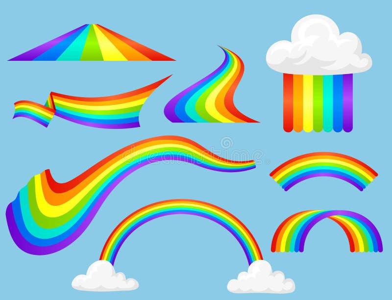 在雨光学天空作用传染媒介集合以后的不同的样式彩虹彩带 向量例证