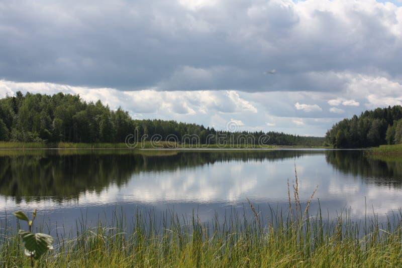 在雨前的湖 库存图片