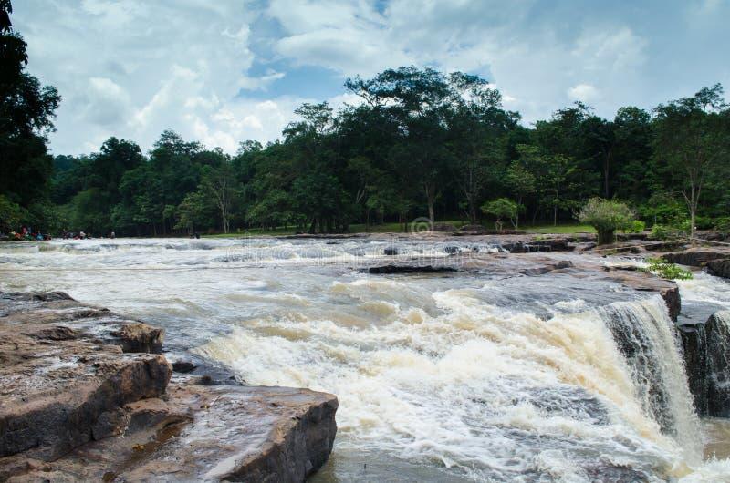 在雨季节的瀑布 免版税库存照片