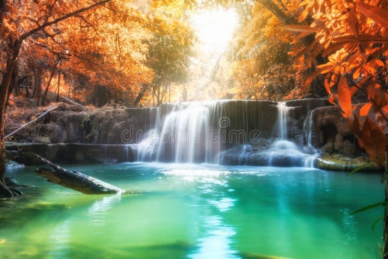 在雨林的风景瀑布在槐Mae西康省的秋天季节 库存图片