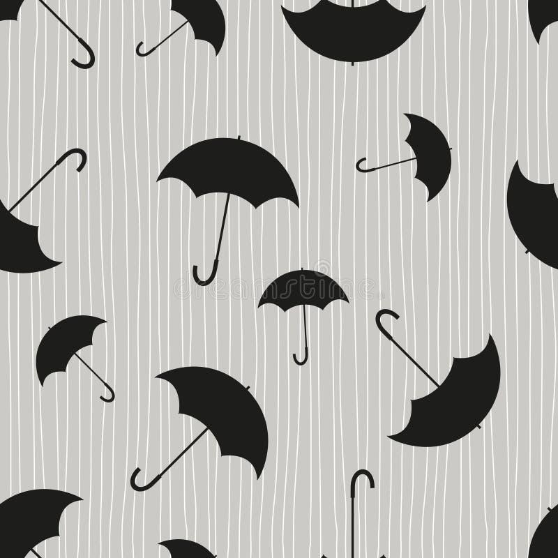 在雨背景的伞  与伞的无缝的样式用不同的位置 向量例证
