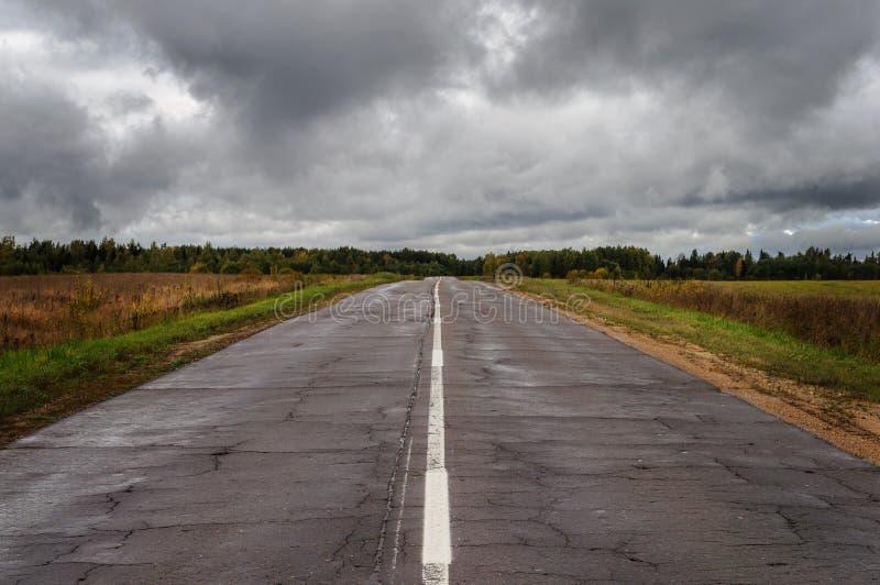 在雨以后的老湿柏油路 免版税库存照片