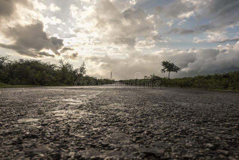 在雨以后的路 免版税库存照片