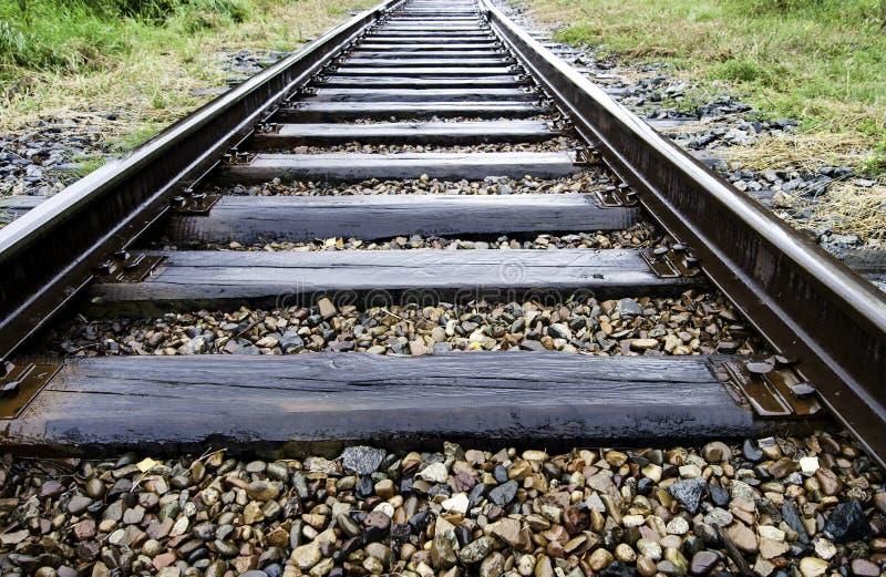 在雨以后的铁路 图库摄影