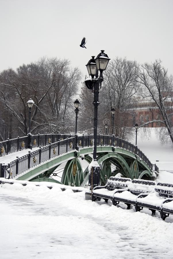 在雪下的一座桥梁 俄国冬天 彩色照片 图库摄影