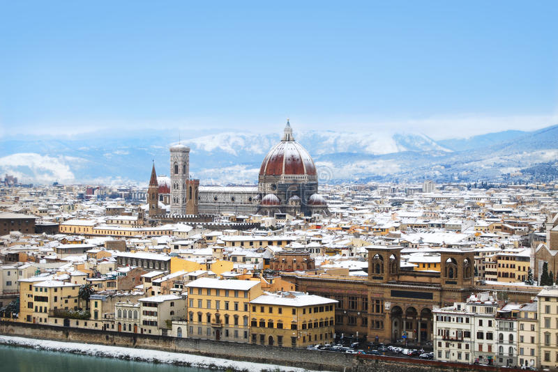 在雪下的佛罗伦萨 免版税库存照片