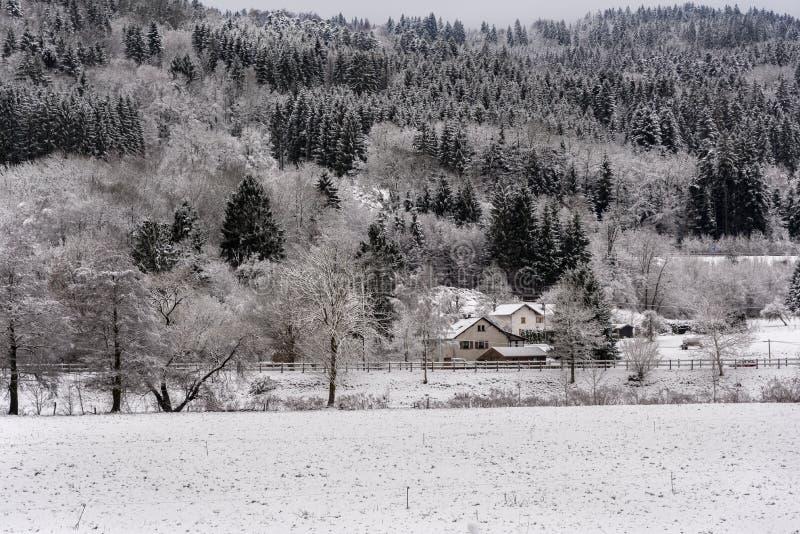 在雪下的法国村庄风景 免版税图库摄影