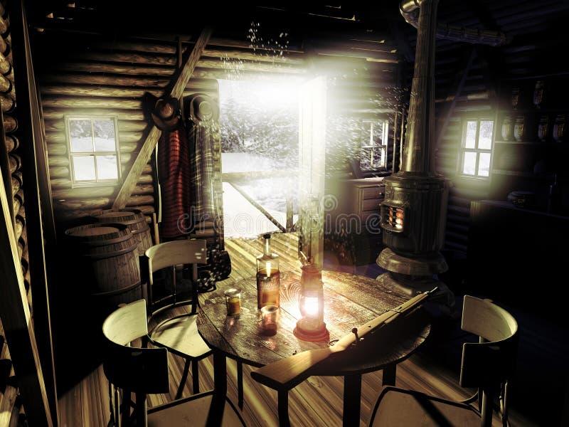 在雪下的老原木小屋 向量例证