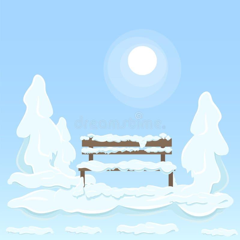 在雪下的长木凳在树之间 皇族释放例证