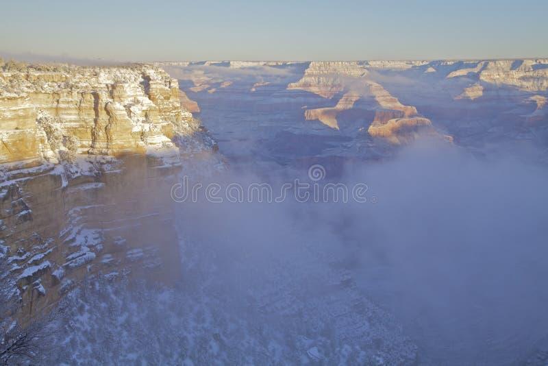 在雪以后的大峡谷 库存图片