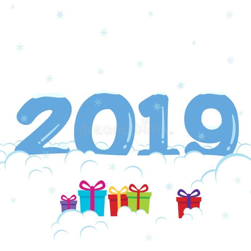 在雪传染媒介例证下的2019年招呼的明信片与冻结的数字、雪、雪花和礼物 向量例证