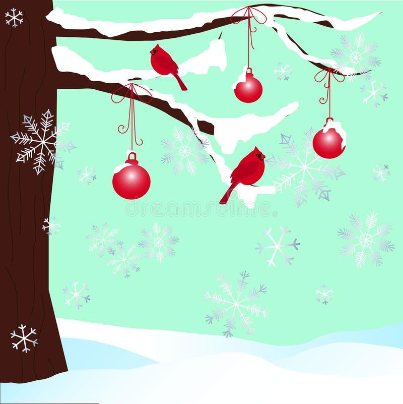 在雪和红色主要背景的圣诞树 向量例证