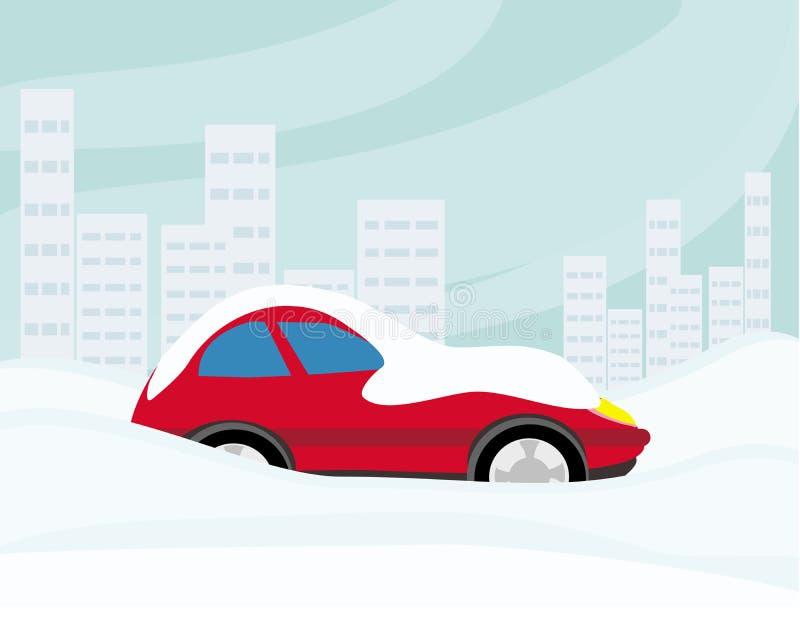 在雪困住的汽车 库存例证