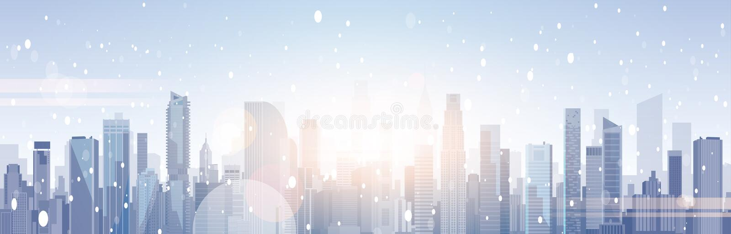 在雪圣诞快乐和新年快乐背景的美丽的冬天城市风景摩天大楼大厦 向量例证