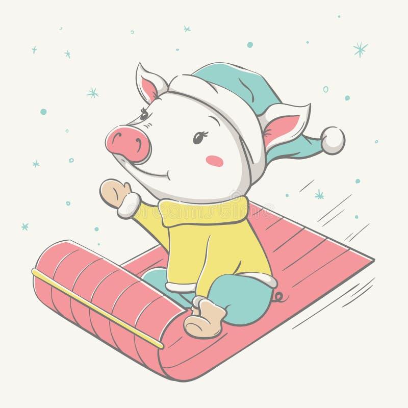 在雪撬的可爱的逗人喜爱的快乐的穿戴的贪心乘驾 皇族释放例证