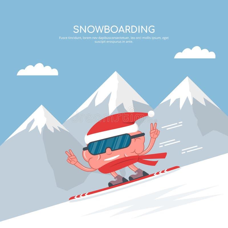 在雪板运动的动画片脑子在山背景  滑雪雪体育运动跟踪冬天 打鼾的 圣诞节连接了特别是空的行业互联网膝上型计算机办公室照片与结构树usb假期有关 向量例证