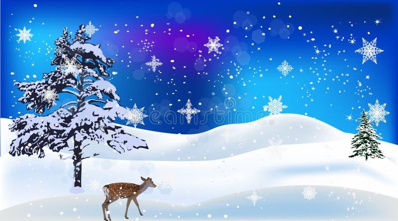 在雪树之间的幼小鹿 库存例证