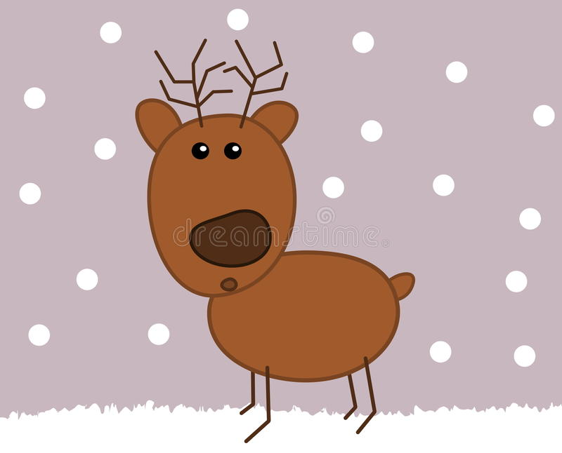 在雪的一头驯鹿 向量例证