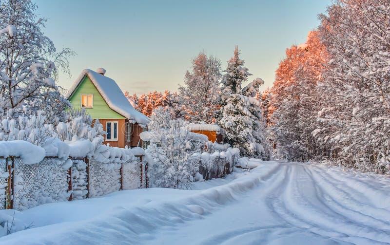 在雪的冬天农村路和结构树 免版税库存照片