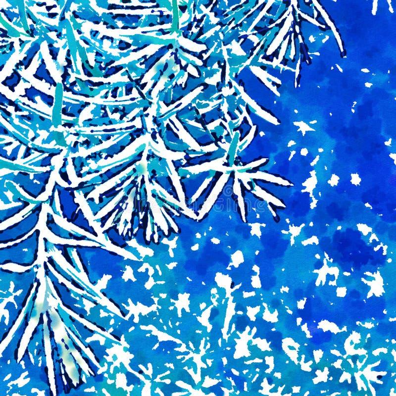 在雪的分行 数字图象 水彩仿效 皇族释放例证