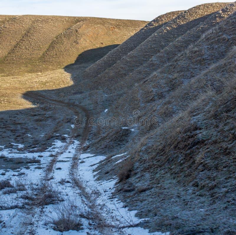 在雪的土路在作为背景的春天 免版税库存照片