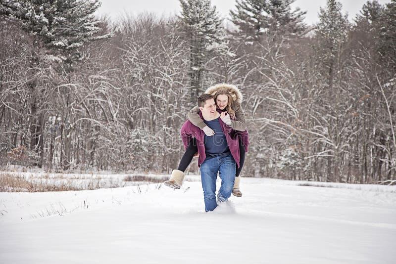 在雪的夫妇乐趣 免版税库存图片