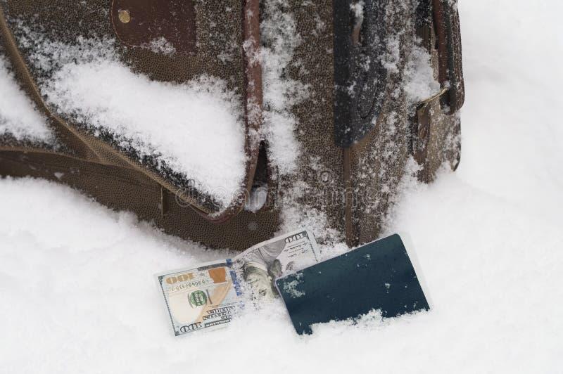 在雪的失去的Luggagge 库存图片