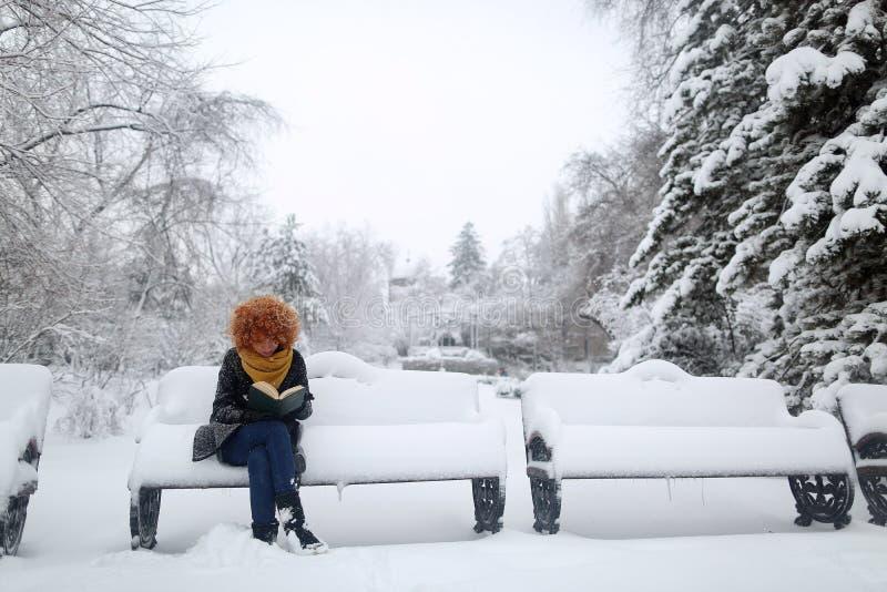 在雪的女孩读书,在长凳的开会 免版税库存照片