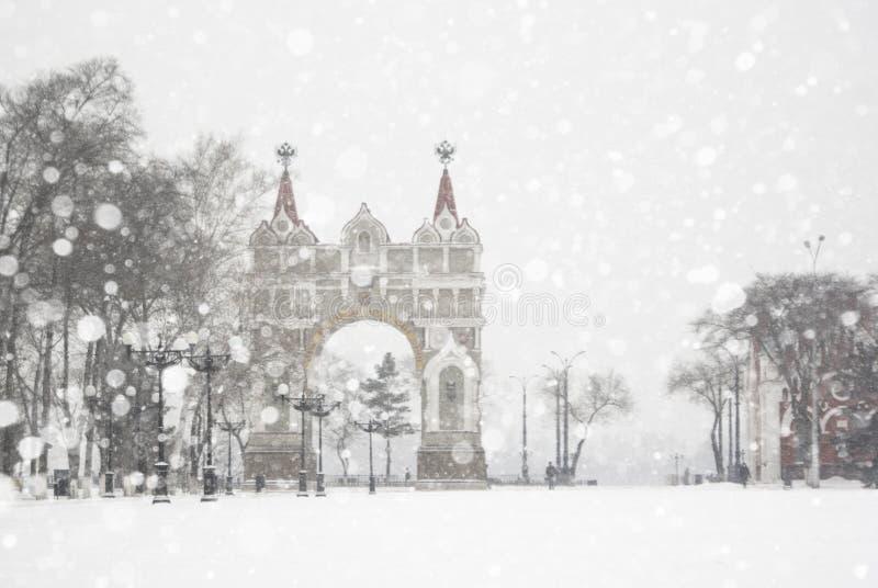 在雪的弧 库存照片