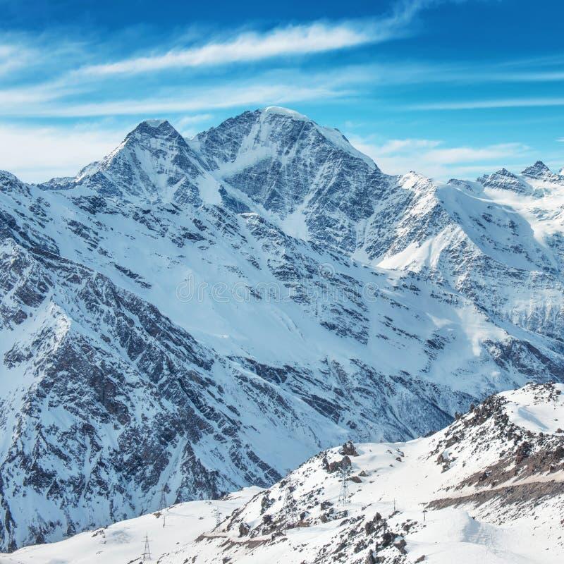 在雪的白色山 库存照片