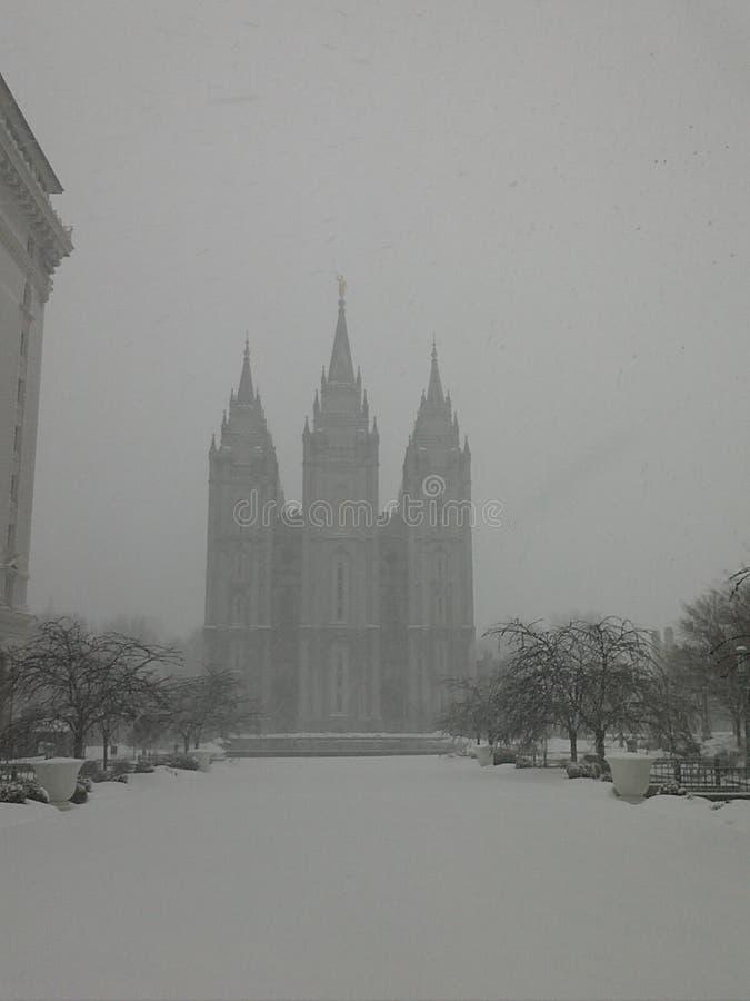 在雪的盐湖城寺庙 免版税库存图片