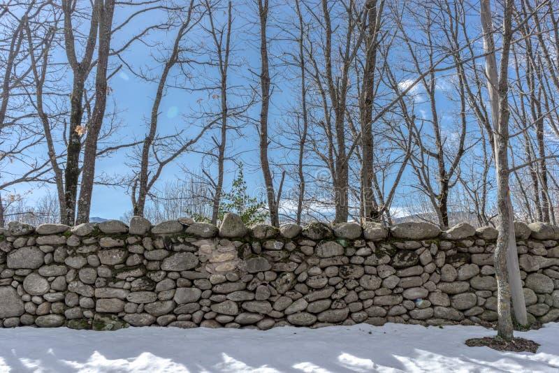 在雪的石墙 库存图片