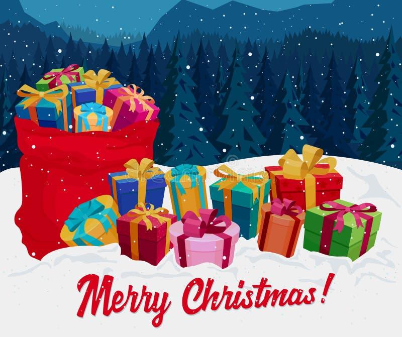 在雪的礼物盒 看板卡圣诞节问候 向量 皇族释放例证