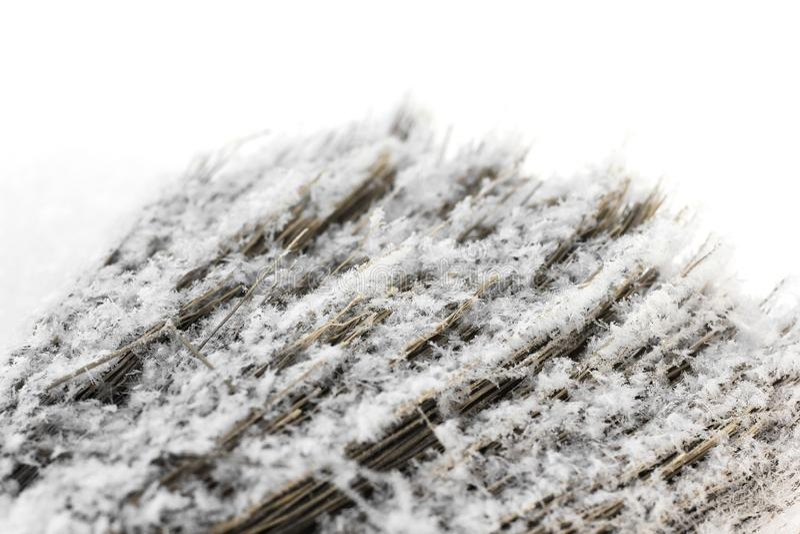 在雪的笤帚 库存图片