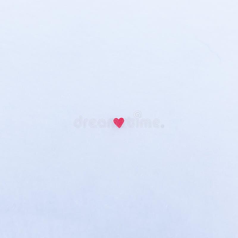 在雪的红色重点 背景情人节,文本的地方 概念爱 库存图片