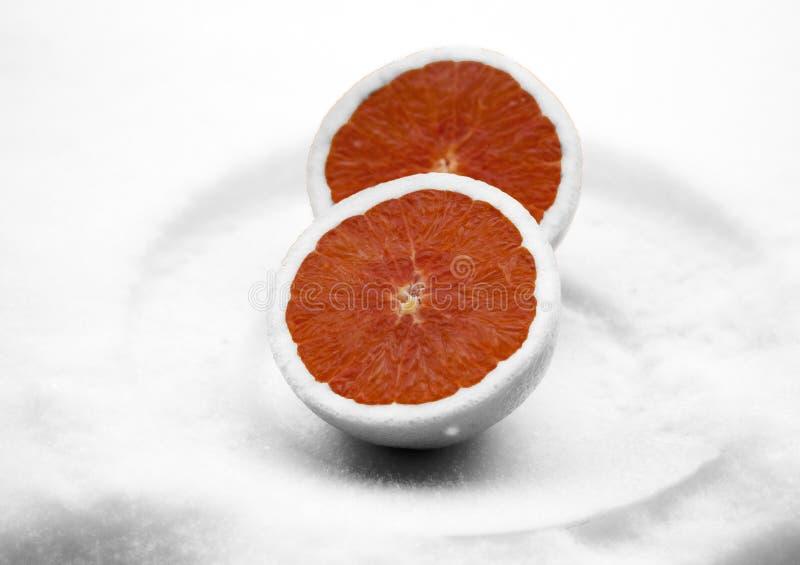 在雪的结霜的桔子 图库摄影