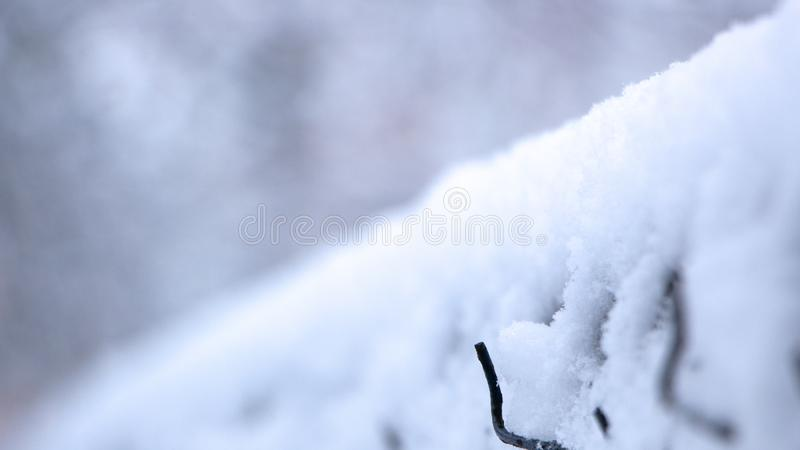 在雪的老金属滤网篱芭在一个多云冬日 库存照片