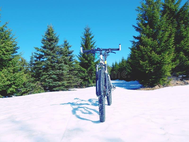 在雪的自行车逗留 免版税库存图片