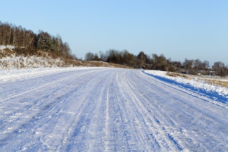 在雪的路, 库存图片