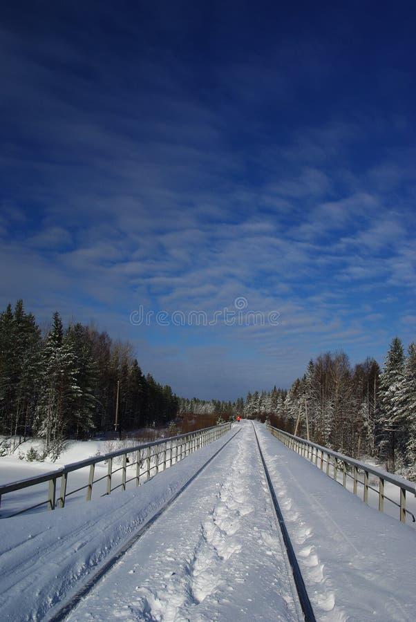 在雪的铁路桥 免版税库存图片