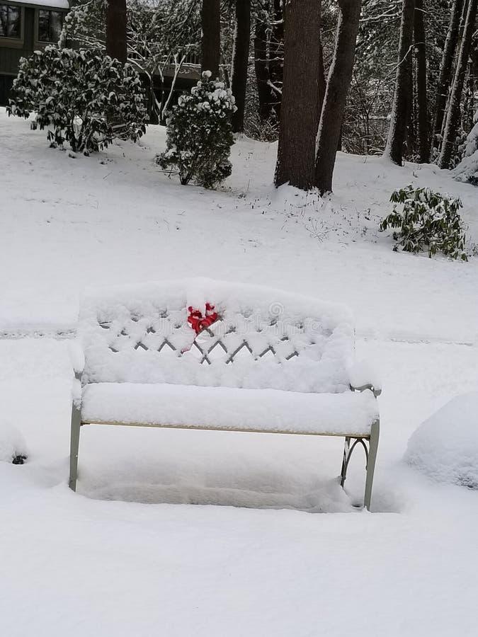 在雪的长凳 库存照片